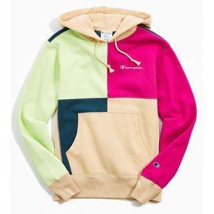 UO Exclusive Champion Colorblock Hoodie Sweatshirt